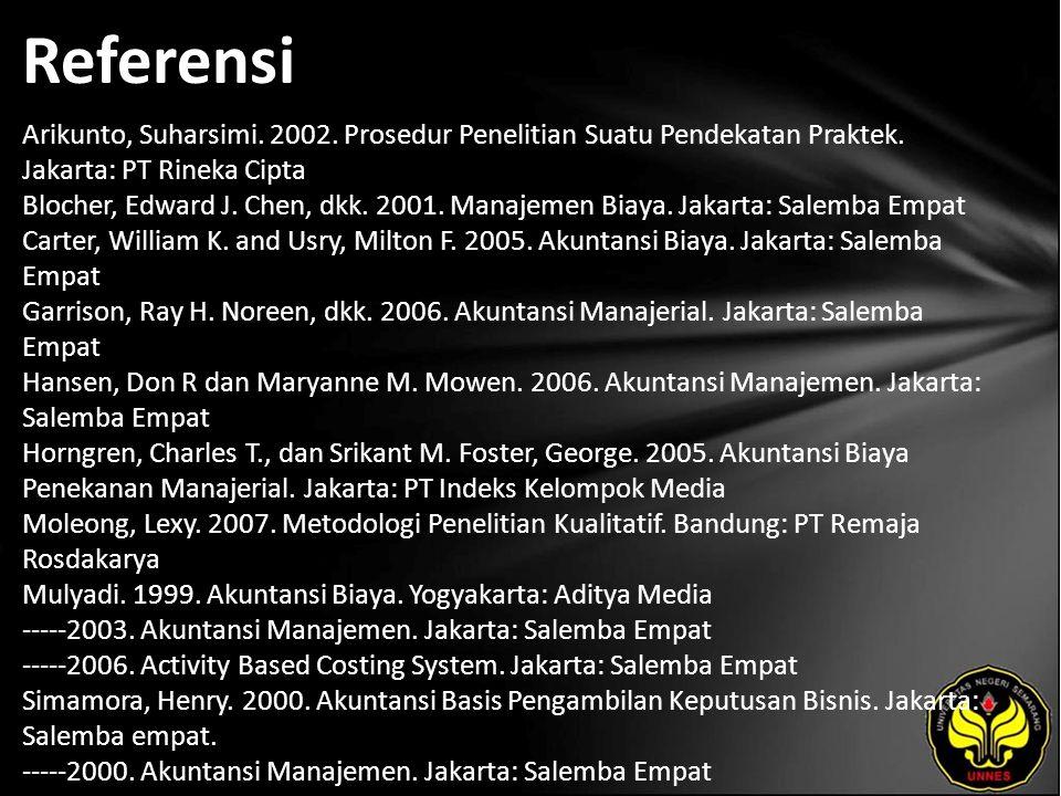 Referensi Arikunto, Suharsimi. 2002. Prosedur Penelitian Suatu Pendekatan Praktek. Jakarta: PT Rineka Cipta Blocher, Edward J. Chen, dkk. 2001. Manaje