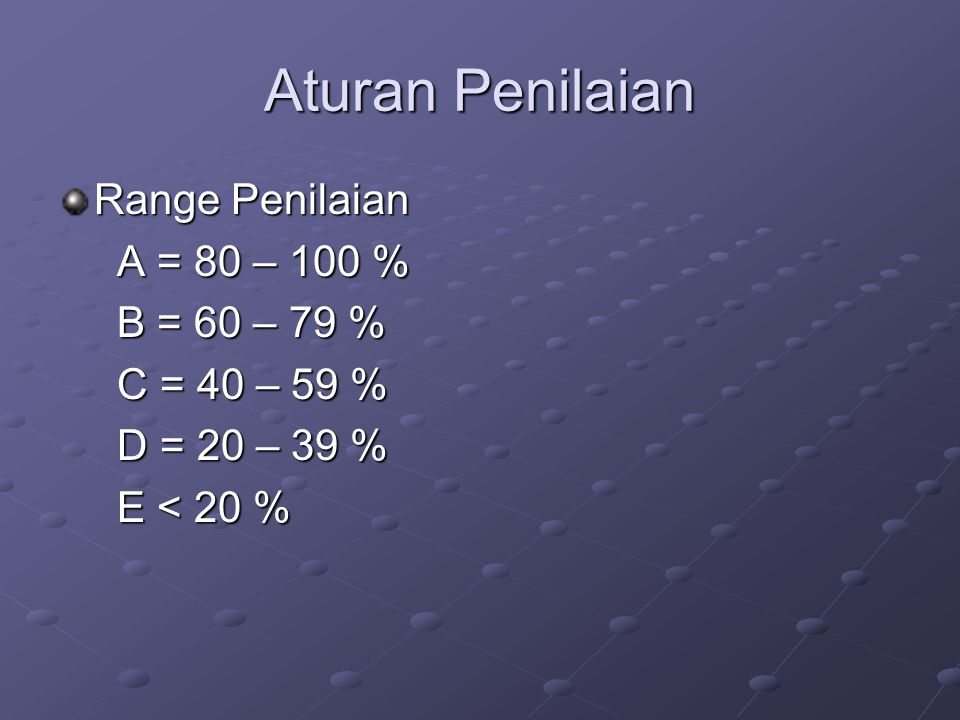 Aturan Penilaian Range Penilaian A = 80 – 100 % A = 80 – 100 % B = 60 – 79 % B = 60 – 79 % C = 40 – 59 % C = 40 – 59 % D = 20 – 39 % D = 20 – 39 % E <