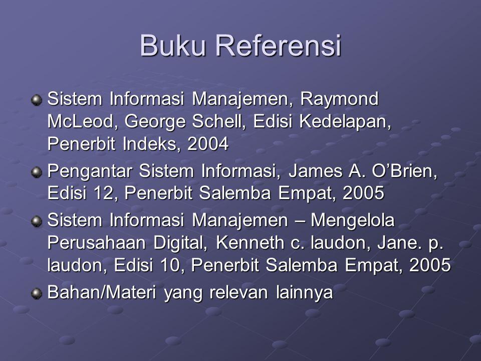 Buku Referensi Sistem Informasi Manajemen, Raymond McLeod, George Schell, Edisi Kedelapan, Penerbit Indeks, 2004 Pengantar Sistem Informasi, James A.