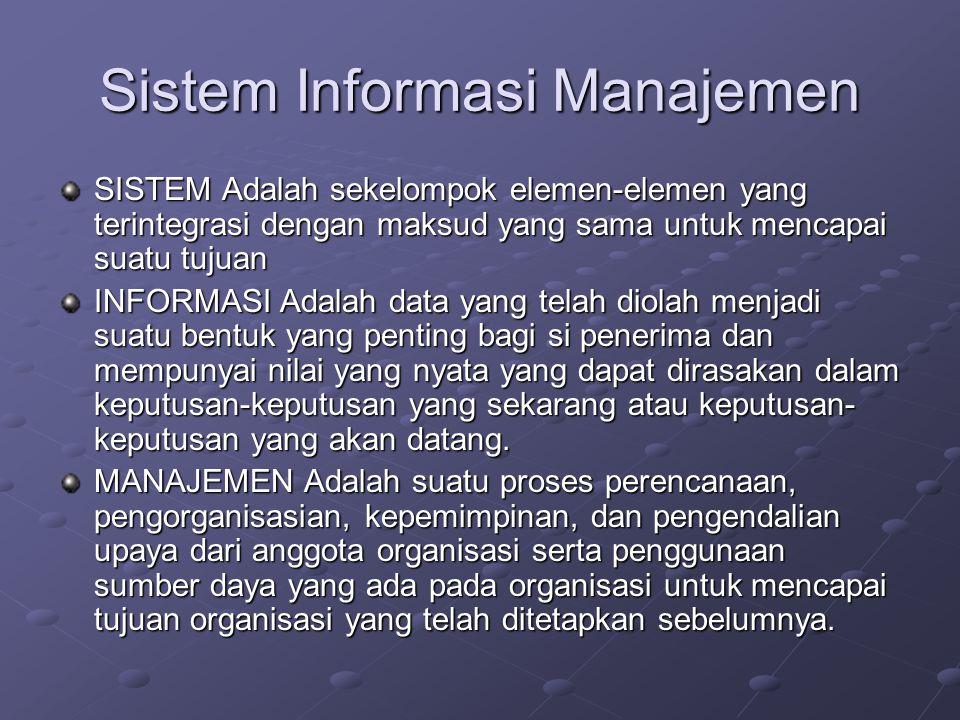 Sistem Informasi Manajemen SISTEM Adalah sekelompok elemen-elemen yang terintegrasi dengan maksud yang sama untuk mencapai suatu tujuan INFORMASI Adal