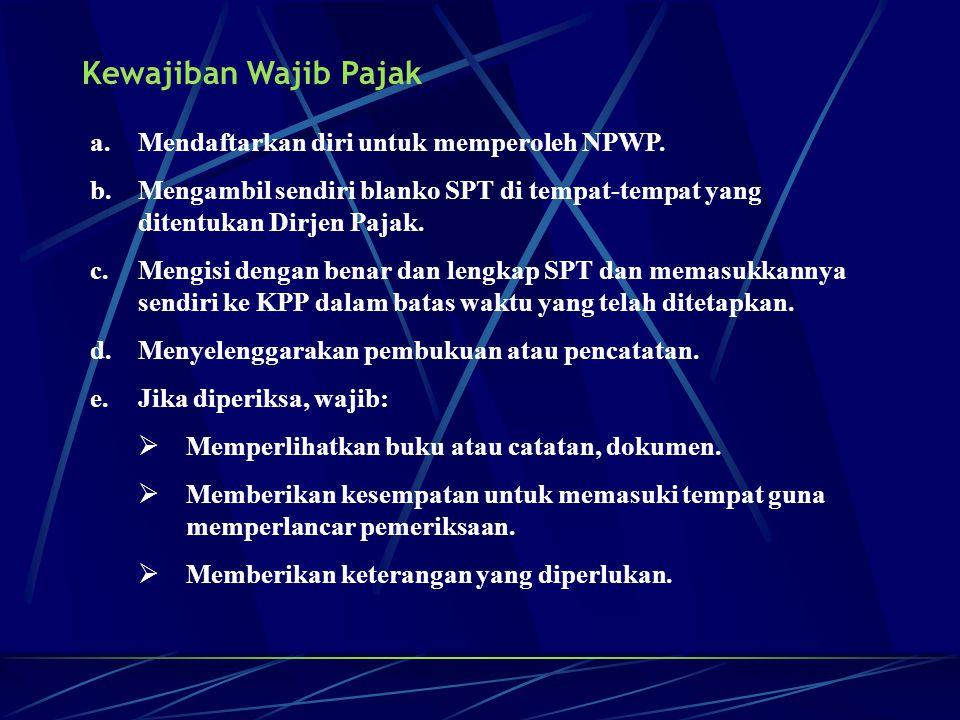 Kewajiban Wajib Pajak a.Mendaftarkan diri untuk memperoleh NPWP. b.Mengambil sendiri blanko SPT di tempat-tempat yang ditentukan Dirjen Pajak. c.Mengi