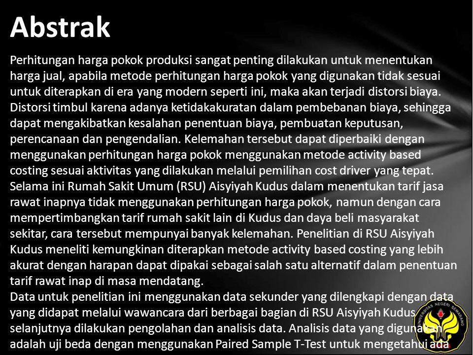 Kata Kunci Sistem Activity Based Costing (ABC), Harga Pokok Jasa Rawat Inap Pasien