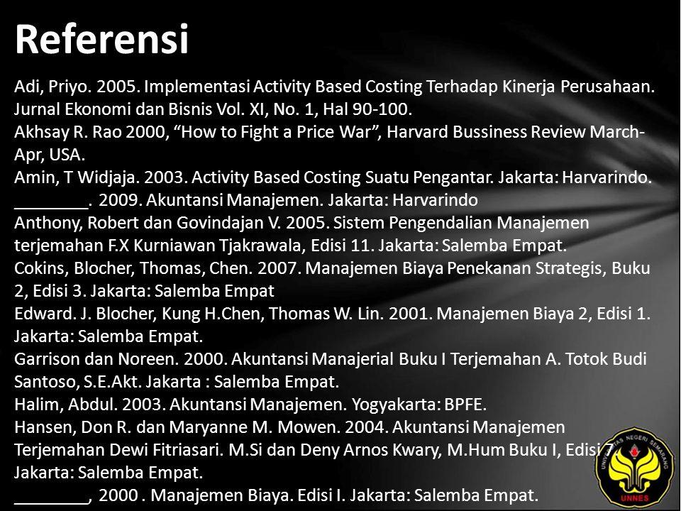 Referensi Adi, Priyo. 2005. Implementasi Activity Based Costing Terhadap Kinerja Perusahaan.