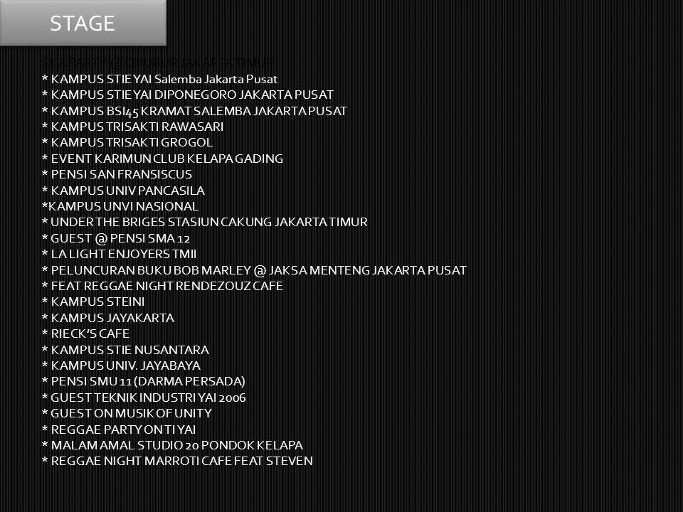 SKA PARTY @ CIBUBUR JAKARTA TIMUR * KAMPUS STIE YAI Salemba Jakarta Pusat * KAMPUS STIE YAI DIPONEGORO JAKARTA PUSAT * KAMPUS BSI45 KRAMAT SALEMBA JAK