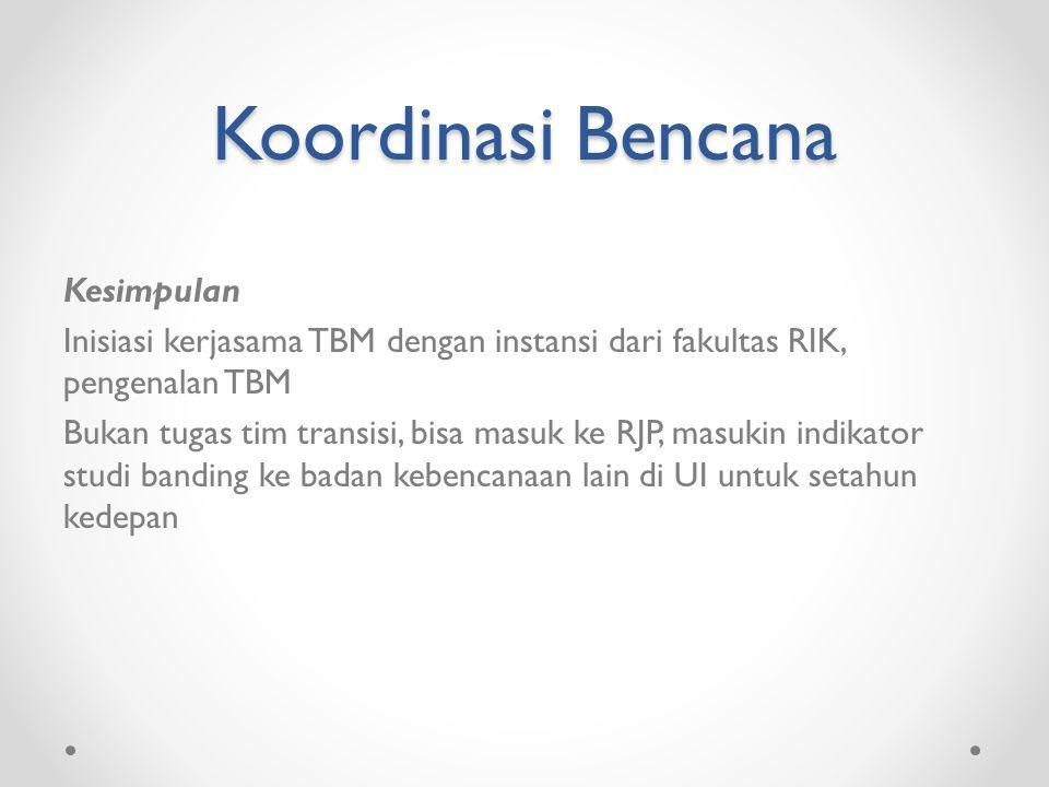 Koordinasi Bencana Kesimpulan Inisiasi kerjasama TBM dengan instansi dari fakultas RIK, pengenalan TBM Bukan tugas tim transisi, bisa masuk ke RJP, masukin indikator studi banding ke badan kebencanaan lain di UI untuk setahun kedepan
