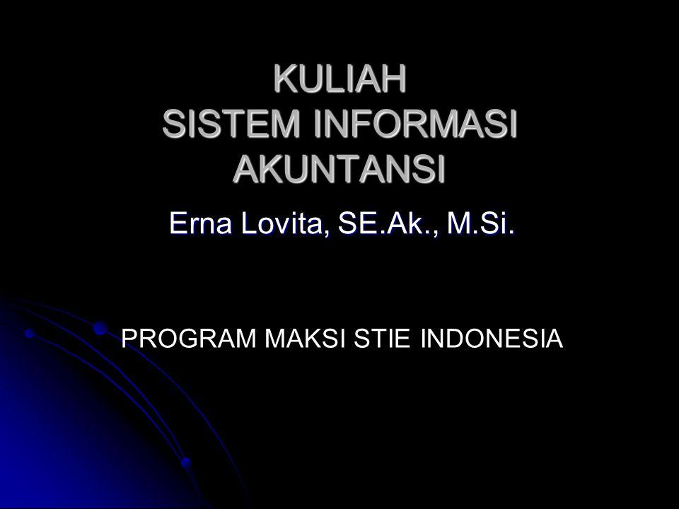 Program MAKSI STIE Indonesia Erna Lovita Pendidikan S1 – Akuntansi Universitas Brawijaya Malang S2 – Magister Akuntansi Konsentrasi Sistem Informasi Universitas Indonesia Jakarta Kontak Email : ernalovita@yahoo.com, erna_lovita@yahoo.com ernalovita@yahoo.comerna_lovita@yahoo.comernalovita@yahoo.comerna_lovita@yahoo.com Url : www.ernalovita.tk www.ernalovita.tk Mobile : 08129498249
