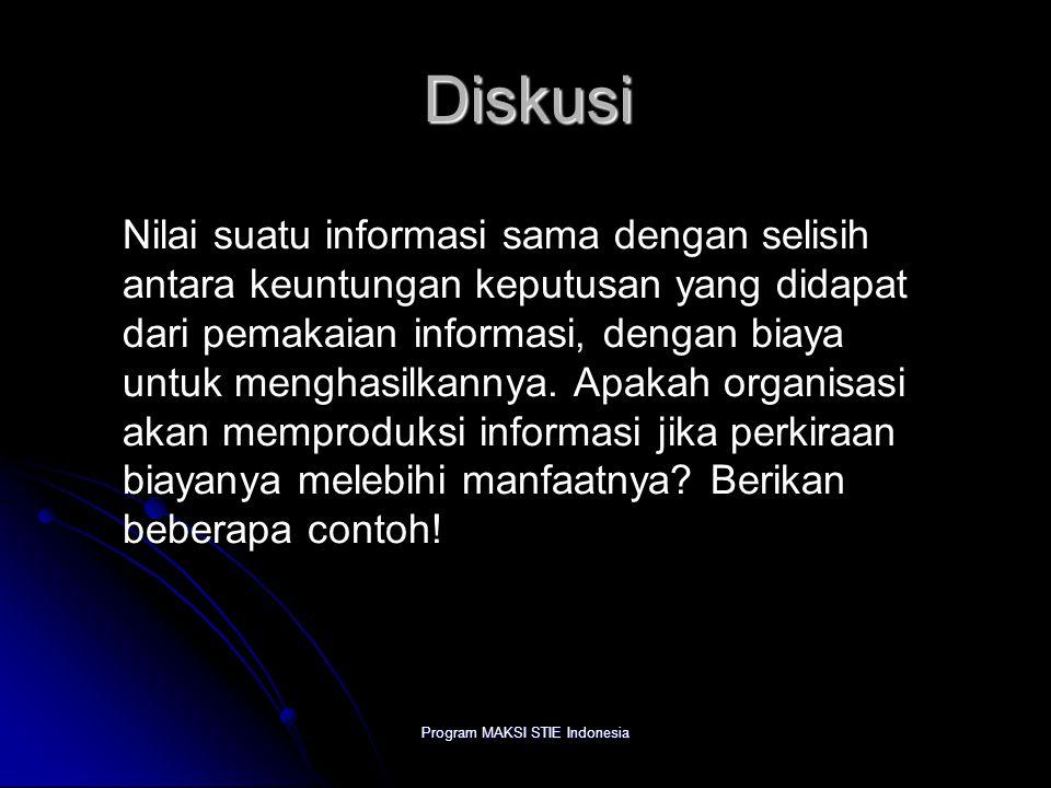 Program MAKSI STIE Indonesia Diskusi Nilai suatu informasi sama dengan selisih antara keuntungan keputusan yang didapat dari pemakaian informasi, deng
