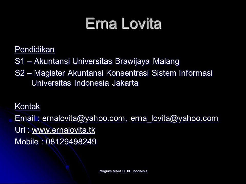 Program MAKSI STIE Indonesia Erna Lovita Pendidikan S1 – Akuntansi Universitas Brawijaya Malang S2 – Magister Akuntansi Konsentrasi Sistem Informasi U