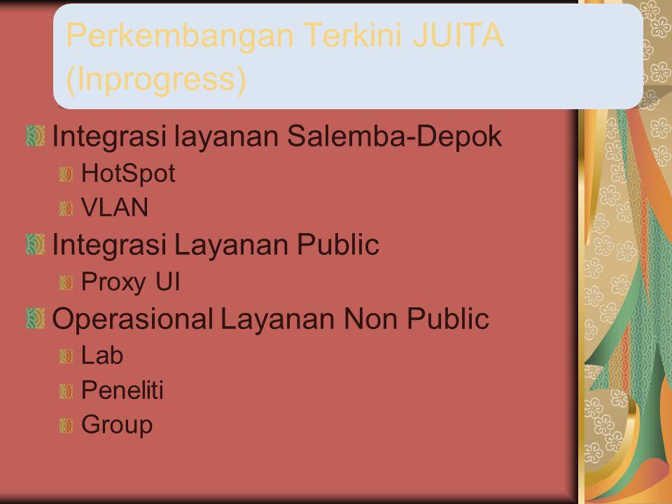 Integrasi layanan Salemba-Depok HotSpot VLAN Integrasi Layanan Public Proxy UI Operasional Layanan Non Public Lab Peneliti Group Perkembangan Terkini