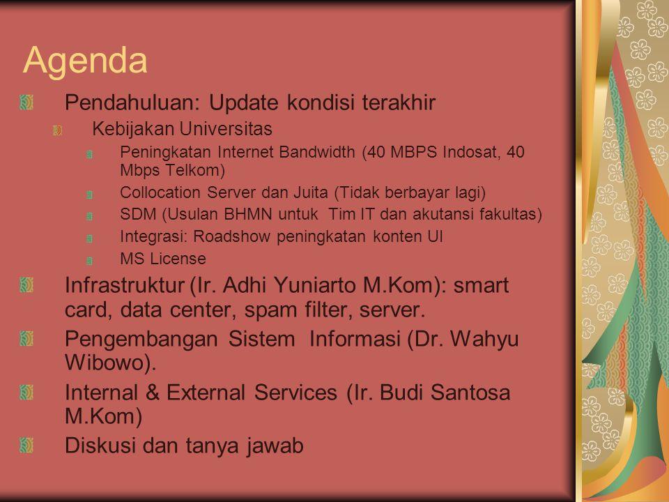 Agenda Pendahuluan: Update kondisi terakhir Kebijakan Universitas Peningkatan Internet Bandwidth (40 MBPS Indosat, 40 Mbps Telkom) Collocation Server