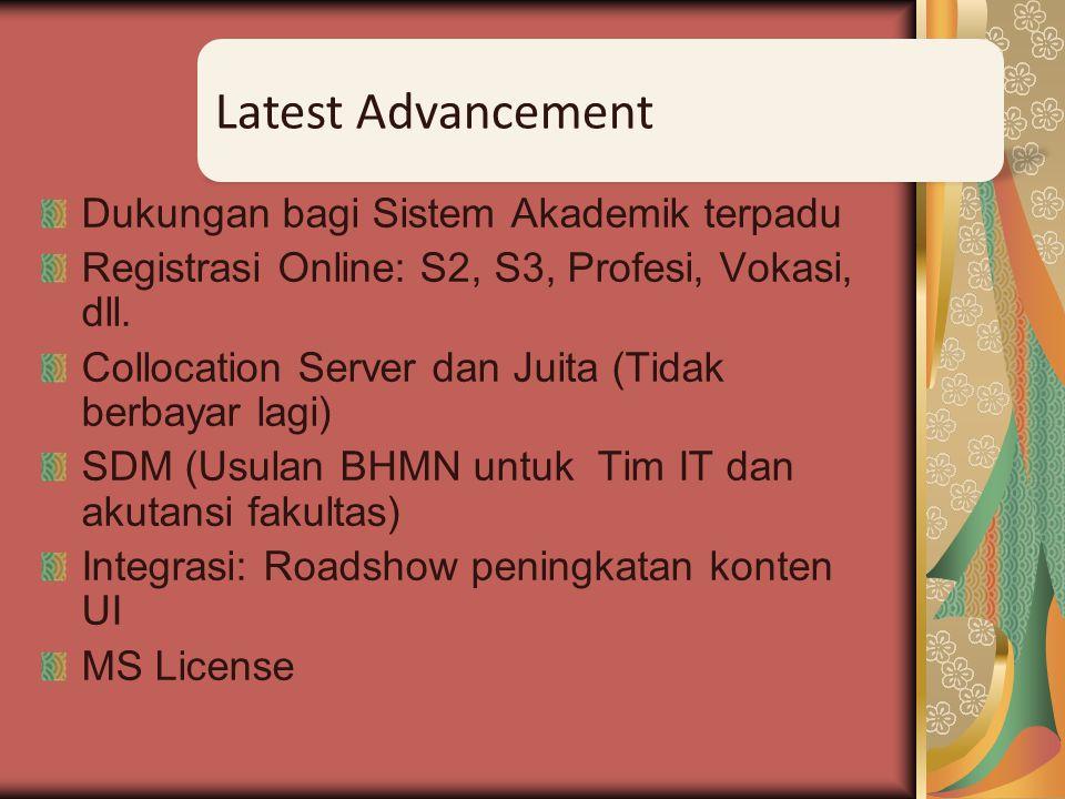 Integrasi layanan Salemba-Depok HotSpot VLAN Integrasi Layanan Public Proxy UI Operasional Layanan Non Public Lab Peneliti Group Perkembangan Terkini JUITA (Inprogress)