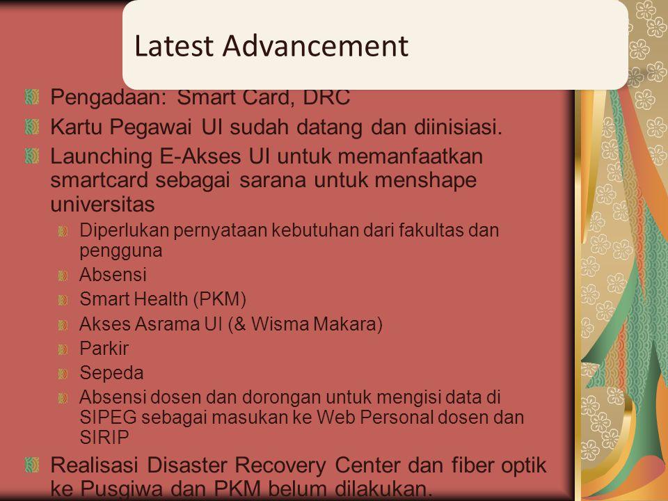 Pengadaan: Smart Card, DRC Kartu Pegawai UI sudah datang dan diinisiasi. Launching E-Akses UI untuk memanfaatkan smartcard sebagai sarana untuk mensha