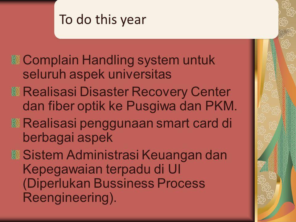 Complain Handling system untuk seluruh aspek universitas Realisasi Disaster Recovery Center dan fiber optik ke Pusgiwa dan PKM. Realisasi penggunaan s