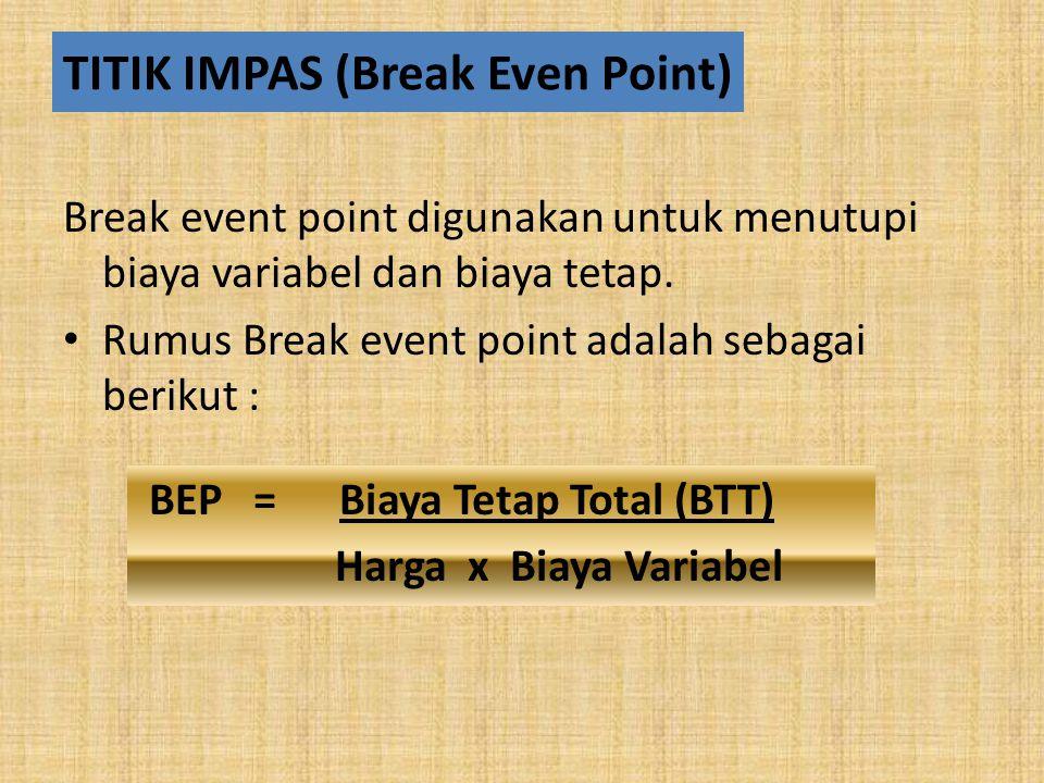 TITIK IMPAS (Break Even Point) Break event point digunakan untuk menutupi biaya variabel dan biaya tetap.