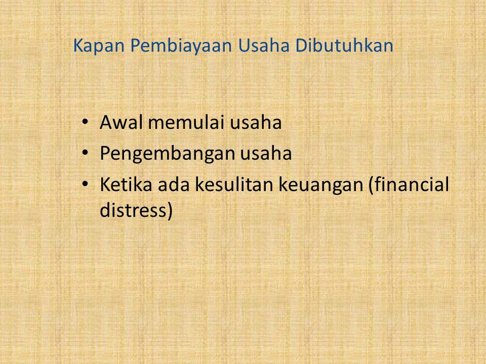 Kapan Pembiayaan Usaha Dibutuhkan Awal memulai usaha Pengembangan usaha Ketika ada kesulitan keuangan (financial distress)