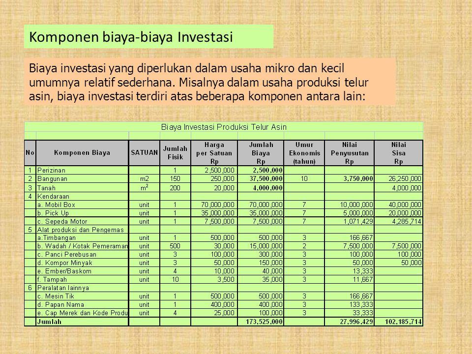Komponen biaya-biaya Investasi Biaya investasi yang diperlukan dalam usaha mikro dan kecil umumnya relatif sederhana.