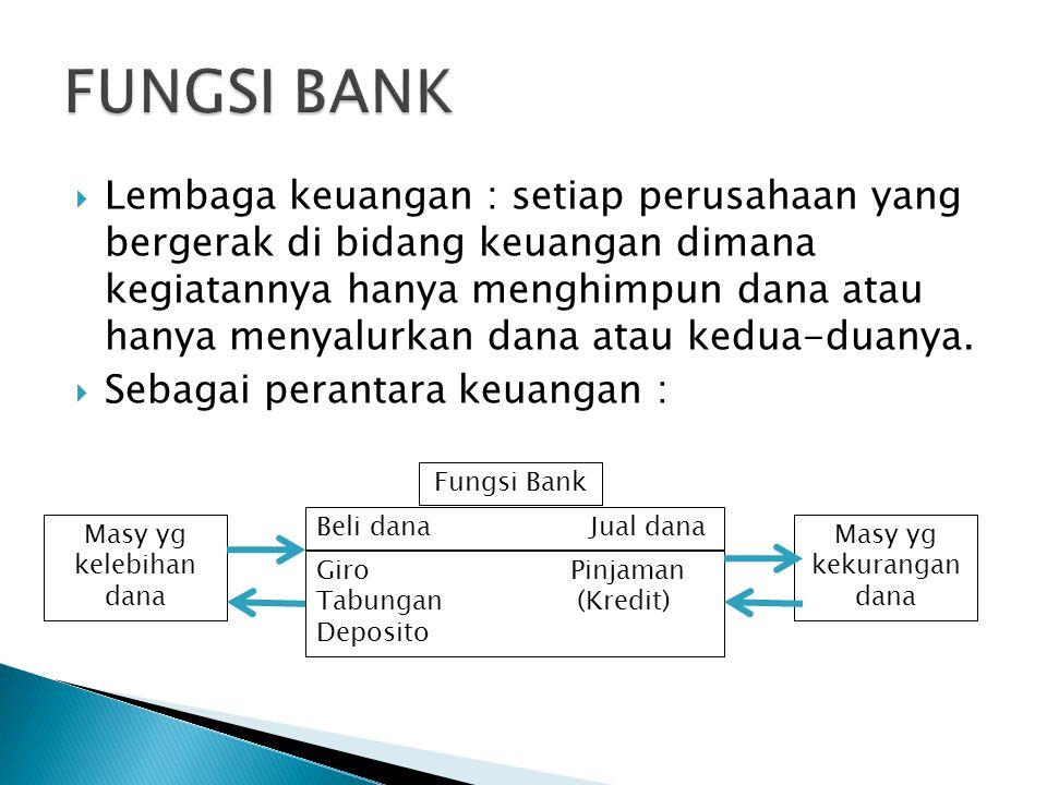  Lembaga keuangan : setiap perusahaan yang bergerak di bidang keuangan dimana kegiatannya hanya menghimpun dana atau hanya menyalurkan dana atau kedu