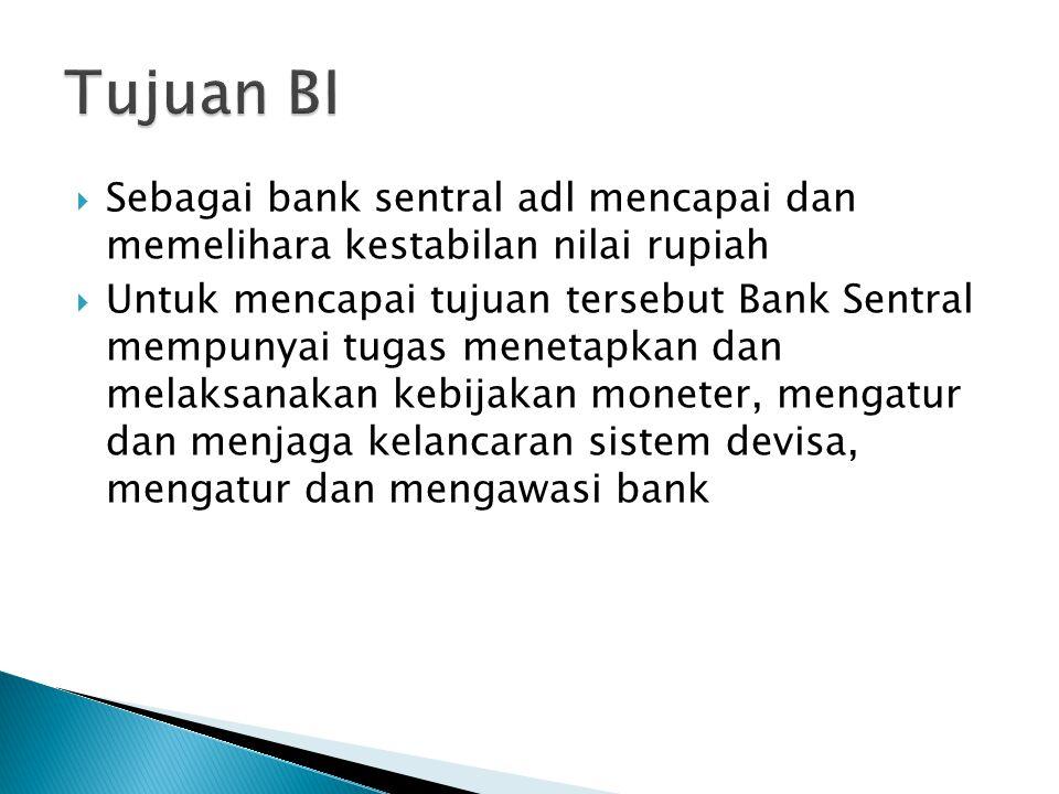  Sebagai bank sentral adl mencapai dan memelihara kestabilan nilai rupiah  Untuk mencapai tujuan tersebut Bank Sentral mempunyai tugas menetapkan da
