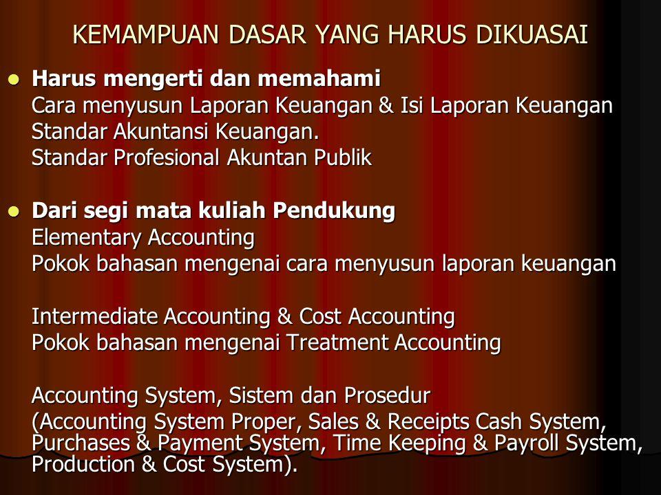 KEMAMPUAN DASAR YANG HARUS DIKUASAI Harus mengerti dan memahami Harus mengerti dan memahami Cara menyusun Laporan Keuangan & Isi Laporan Keuangan Stan