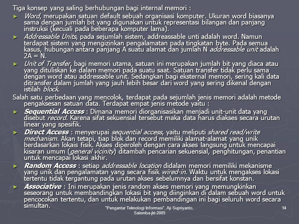 Pengantar Teknologi Informasi , Aji Supriyanto, Salemba-jkt-2005 14 Tiga konsep yang saling berhubungan bagi internal memori : ► Word, merupakan satuan default sebuah organisasi komputer.