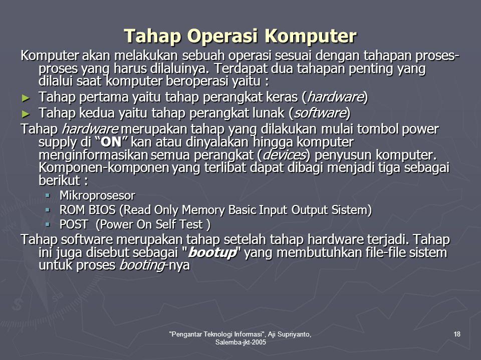 Pengantar Teknologi Informasi , Aji Supriyanto, Salemba-jkt-2005 18 Tahap Operasi Komputer Komputer akan melakukan sebuah operasi sesuai dengan tahapan proses- proses yang harus dilaluinya.