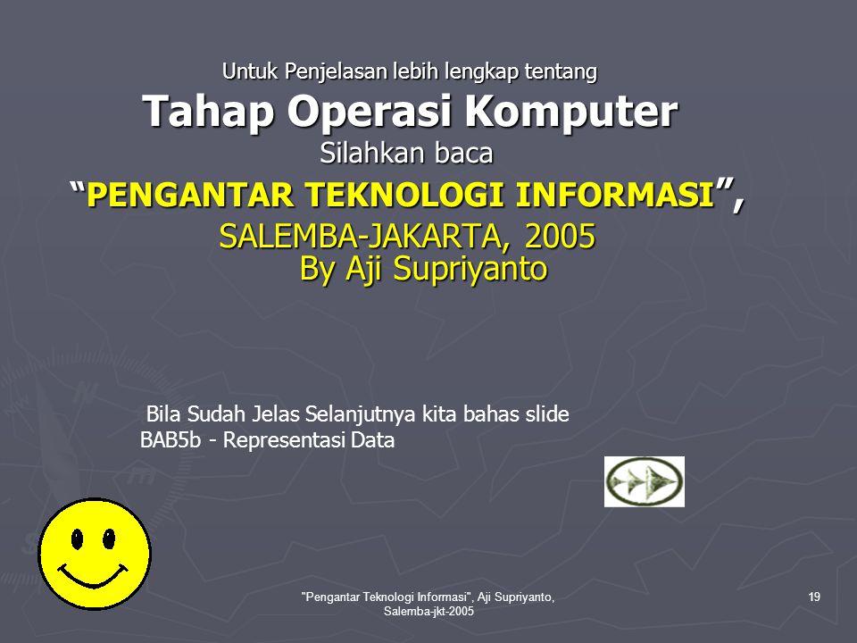 Pengantar Teknologi Informasi , Aji Supriyanto, Salemba-jkt-2005 19 Untuk Penjelasan lebih lengkap tentang Untuk Penjelasan lebih lengkap tentang Tahap Operasi Komputer Tahap Operasi Komputer Silahkan baca PENGANTAR TEKNOLOGI INFORMASI , SALEMBA-JAKARTA, 2005 By Aji Supriyanto Bila Sudah Jelas Selanjutnya kita bahas slide BAB5b - Representasi Data