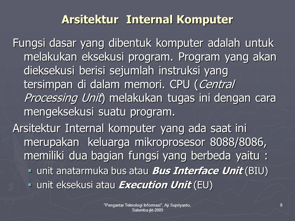 Pengantar Teknologi Informasi , Aji Supriyanto, Salemba-jkt-2005 8 Arsitektur Internal Komputer Fungsi dasar yang dibentuk komputer adalah untuk melakukan eksekusi program.