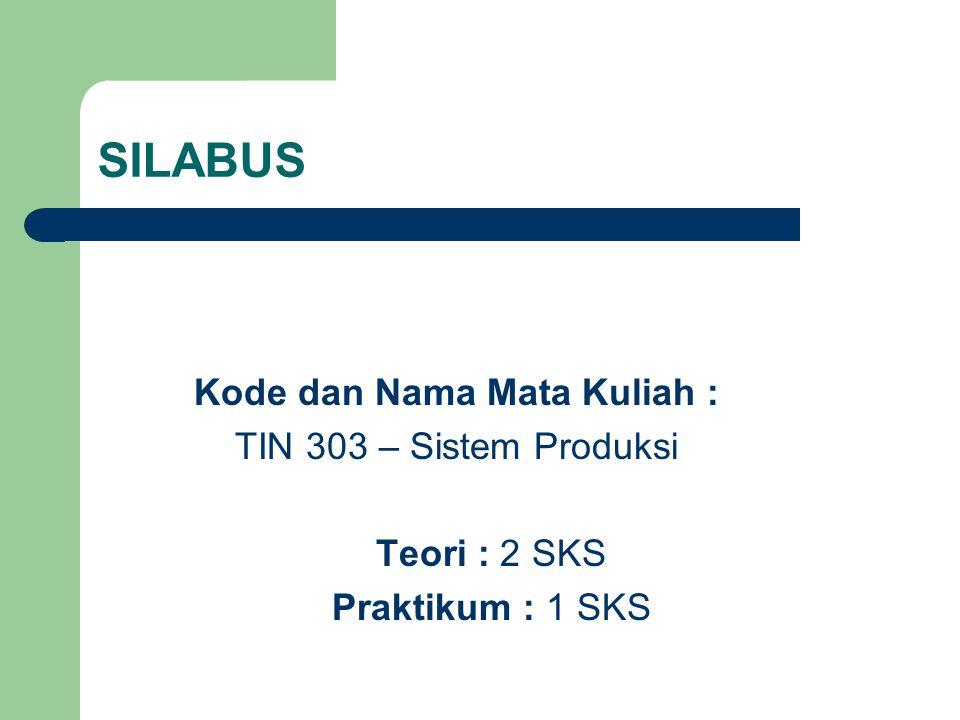SILABUS Kode dan Nama Mata Kuliah : TIN 303 – Sistem Produksi Teori : 2 SKS Praktikum : 1 SKS