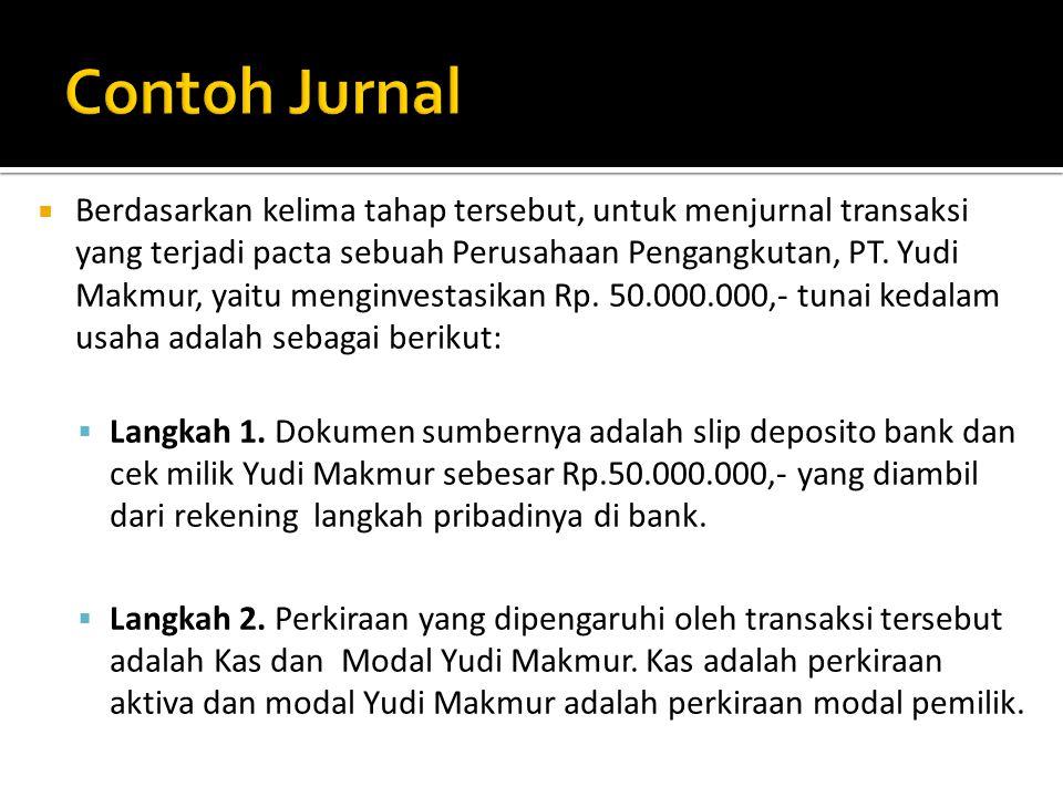  Berdasarkan kelima tahap tersebut, untuk menjurnal transaksi yang terjadi pacta sebuah Perusahaan Pengangkutan, PT. Yudi Makmur, yaitu menginvestasi