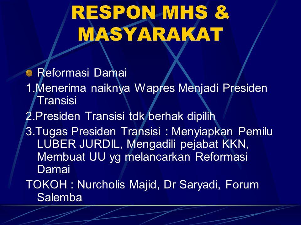 RESPON MHS & MASYARAKAT Reformasi Damai 1.Menerima naiknya Wapres Menjadi Presiden Transisi 2.Presiden Transisi tdk berhak dipilih 3.Tugas Presiden Tr