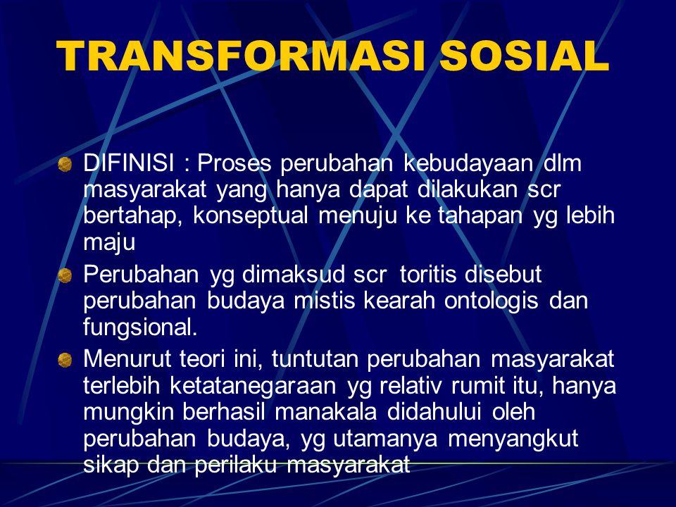 TRANSFORMASI SOSIAL DIFINISI : Proses perubahan kebudayaan dlm masyarakat yang hanya dapat dilakukan scr bertahap, konseptual menuju ke tahapan yg leb