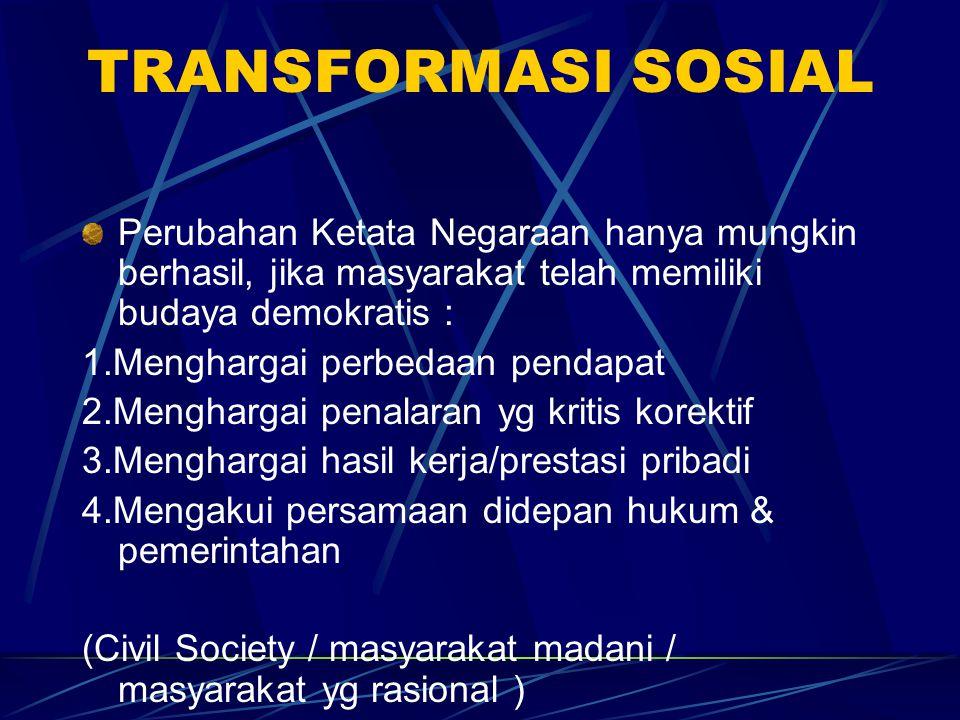 TRANSFORMASI SOSIAL Perubahan Ketata Negaraan hanya mungkin berhasil, jika masyarakat telah memiliki budaya demokratis : 1.Menghargai perbedaan pendap