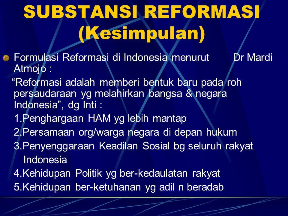 """SUBSTANSI REFORMASI (Kesimpulan) Formulasi Reformasi di Indonesia menurut Dr Mardi Atmojo : """"Reformasi adalah memberi bentuk baru pada roh persaudaraa"""