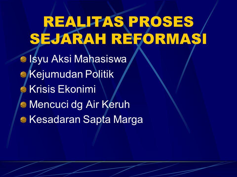 REALITAS PROSES SEJARAH REFORMASI Isyu Aksi MHS : 1.