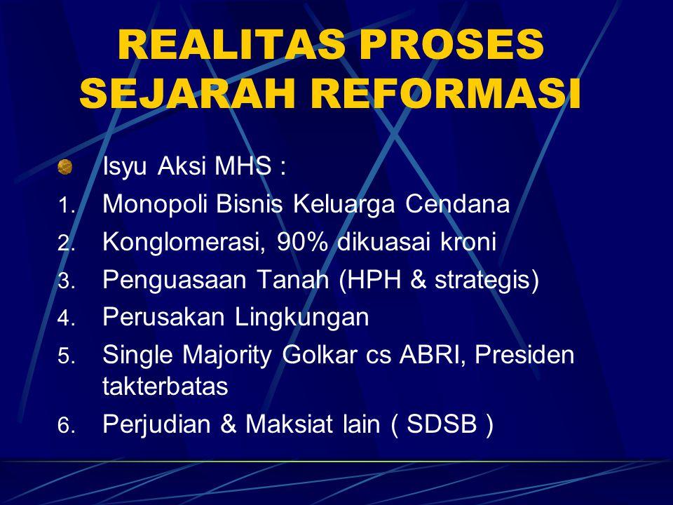 REALITAS PROSES SEJARAH REFORMASI Isyu Aksi MHS : 1. Monopoli Bisnis Keluarga Cendana 2. Konglomerasi, 90% dikuasai kroni 3. Penguasaan Tanah (HPH & s