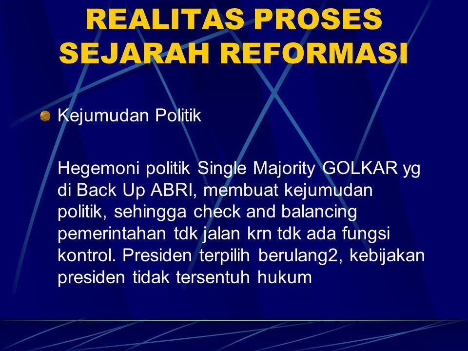 REALITAS PROSES SEJARAH REFORMASI Kejumudan Politik Hegemoni politik Single Majority GOLKAR yg di Back Up ABRI, membuat kejumudan politik, sehingga ch