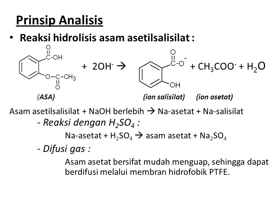 Prinsip Analisis Reaksi hidrolisis asam asetilsalisilat : + 2OH -  + CH 3 COO - + H 2 O (ASA) (ion salisilat) (ion asetat) Asam asetilsalisilat + NaO
