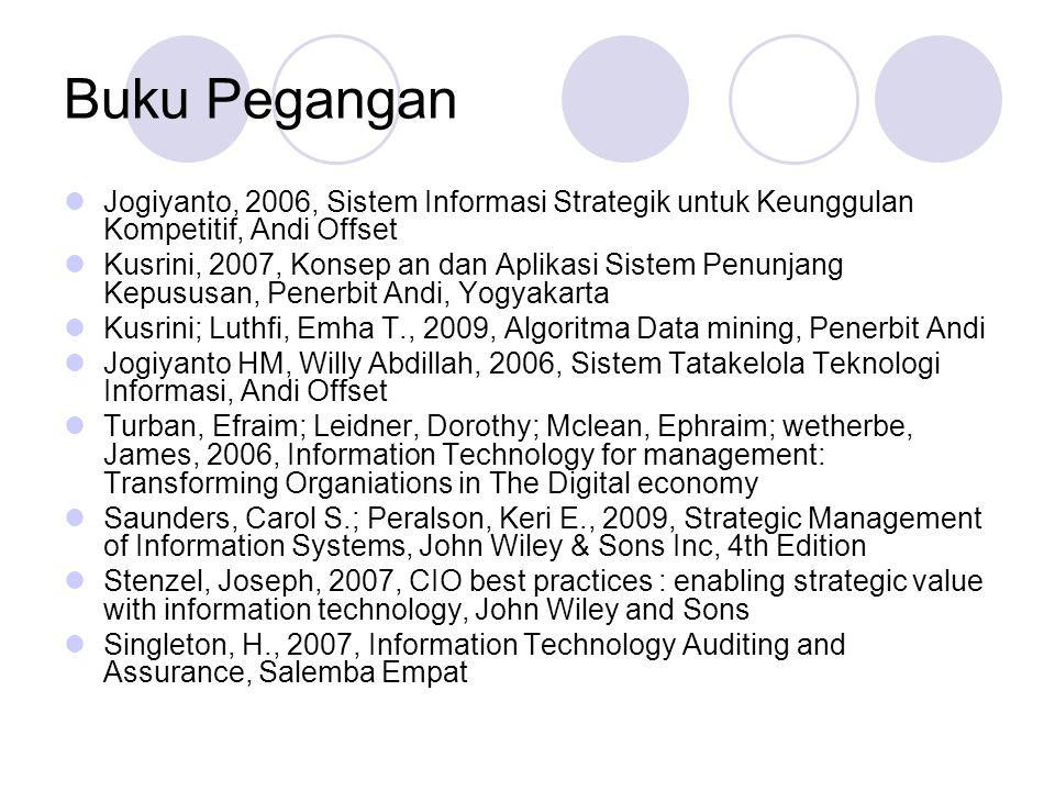 Buku Pegangan Jogiyanto, 2006, Sistem Informasi Strategik untuk Keunggulan Kompetitif, Andi Offset Kusrini, 2007, Konsep an dan Aplikasi Sistem Penunj
