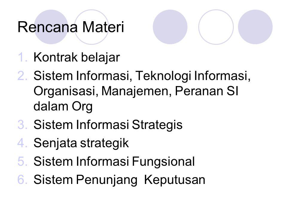 Rencana Materi 1.Kontrak belajar 2.Sistem Informasi, Teknologi Informasi, Organisasi, Manajemen, Peranan SI dalam Org 3.Sistem Informasi Strategis 4.S