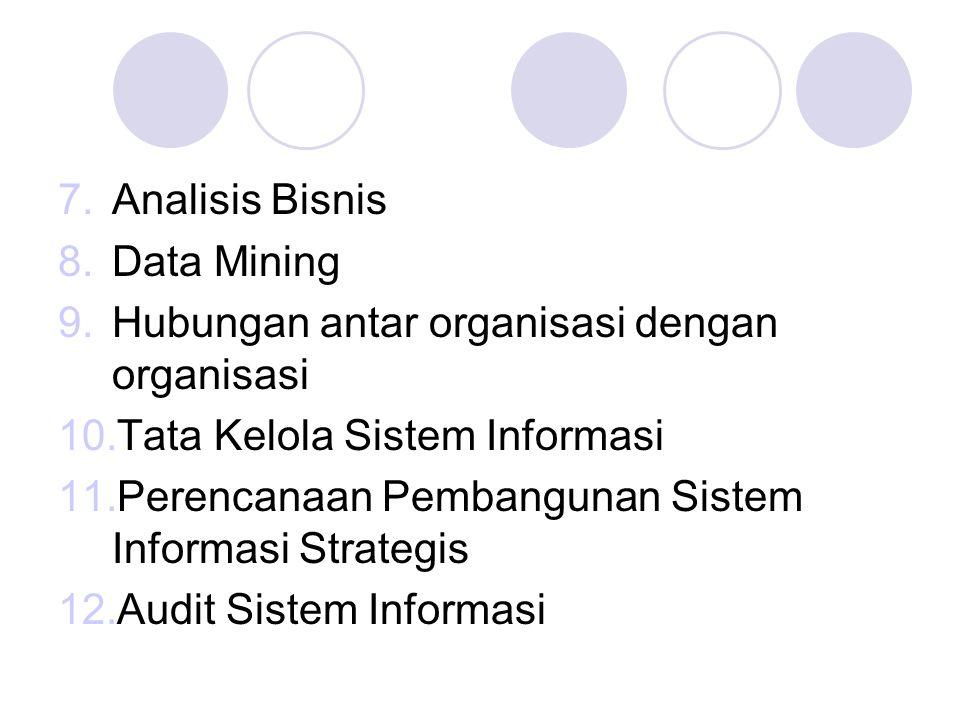 7.Analisis Bisnis 8.Data Mining 9.Hubungan antar organisasi dengan organisasi 10.Tata Kelola Sistem Informasi 11.Perencanaan Pembangunan Sistem Inform