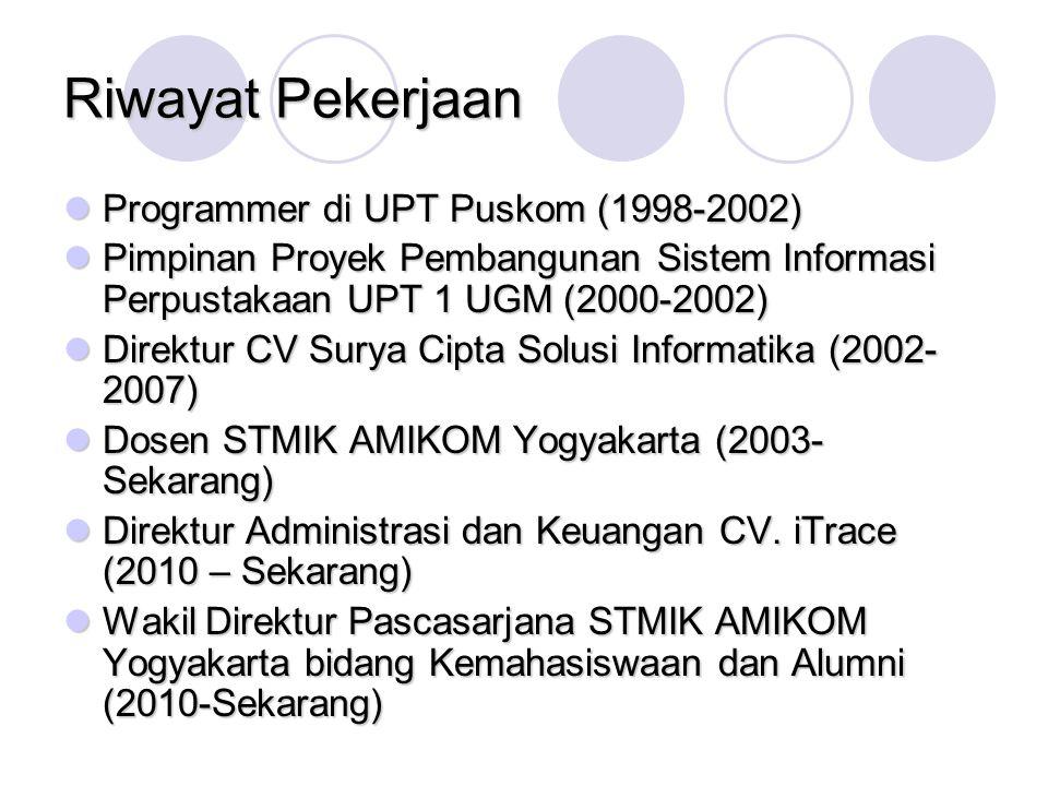 Riwayat Pekerjaan Programmer di UPT Puskom (1998-2002) Programmer di UPT Puskom (1998-2002) Pimpinan Proyek Pembangunan Sistem Informasi Perpustakaan