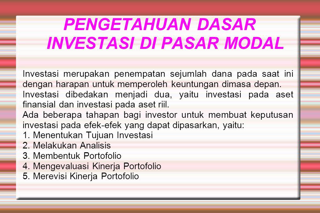 PENGETAHUAN DASAR INVESTASI DI PASAR MODAL Investasi merupakan penempatan sejumlah dana pada saat ini dengan harapan untuk memperoleh keuntungan dimas