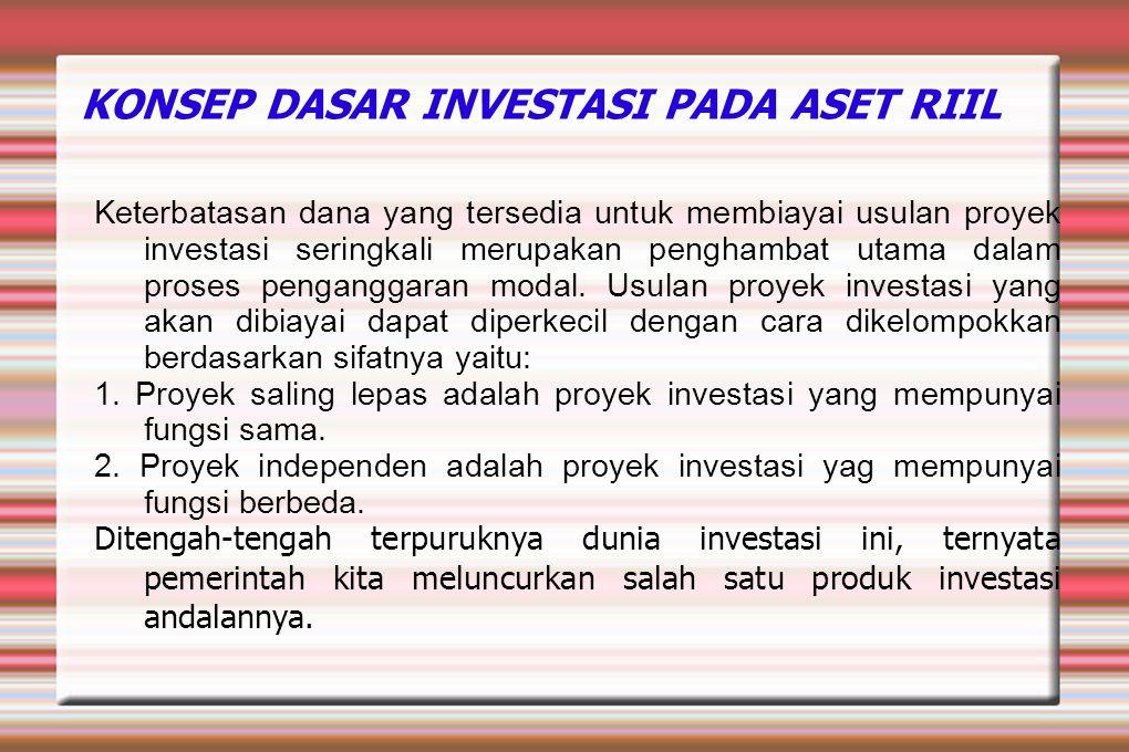 KONSEP DASAR INVESTASI PADA ASET RIIL Keterbatasan dana yang tersedia untuk membiayai usulan proyek investasi seringkali merupakan penghambat utama da