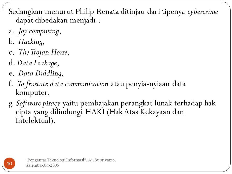 Pengantar Teknologi Informasi , Aji Supriyanto, Salemba-Jkt-2005 16 Sedangkan menurut Philip Renata ditinjau dari tipenya cybercrime dapat dibedakan menjadi : a.