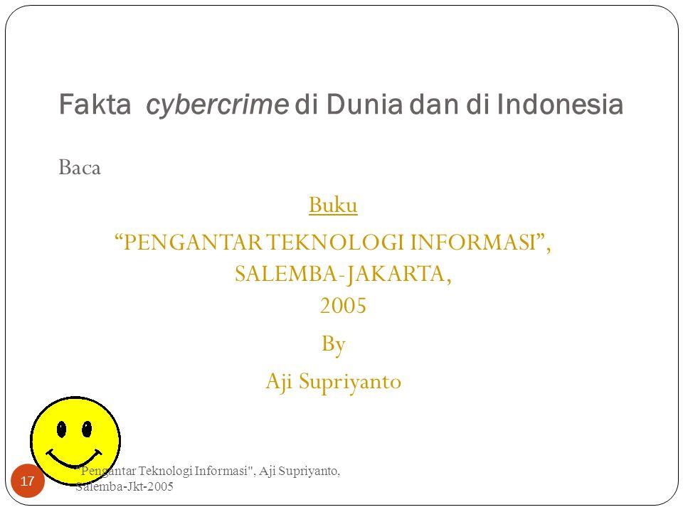 """Fakta cybercrime di Dunia dan di Indonesia Baca Buku """"PENGANTAR TEKNOLOGI INFORMASI"""", SALEMBA-JAKARTA, 2005 By Aji Supriyanto"""