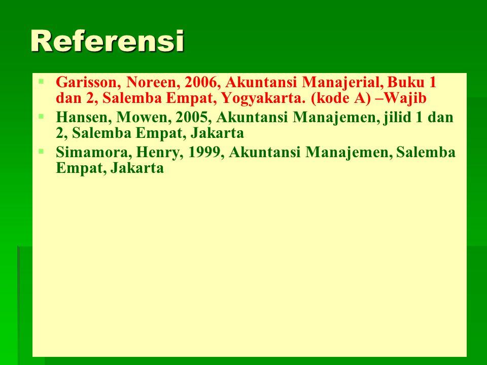 Referensi   Garisson, Noreen, 2006, Akuntansi Manajerial, Buku 1 dan 2, Salemba Empat, Yogyakarta. (kode A) –Wajib   Hansen, Mowen, 2005, Akuntans