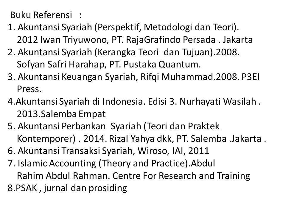 Buku Referensi : 1. Akuntansi Syariah (Perspektif, Metodologi dan Teori). 2012 Iwan Triyuwono, PT. RajaGrafindo Persada. Jakarta 2. Akuntansi Syariah