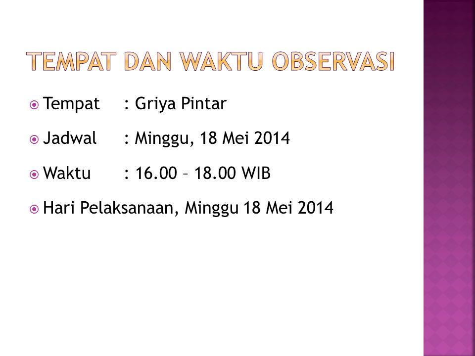  Tempat : Griya Pintar  Jadwal : Minggu, 18 Mei 2014  Waktu: 16.00 – 18.00 WIB  Hari Pelaksanaan, Minggu 18 Mei 2014