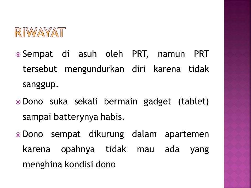  Sempat di asuh oleh PRT, namun PRT tersebut mengundurkan diri karena tidak sanggup.