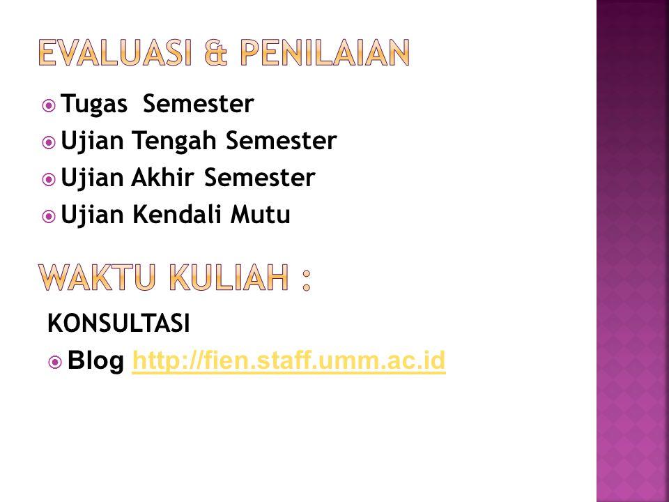  Tugas Semester  Ujian Tengah Semester  Ujian Akhir Semester  Ujian Kendali Mutu KONSULTASI  Blog http://fien.staff.umm.ac.idhttp://fien.staff.um